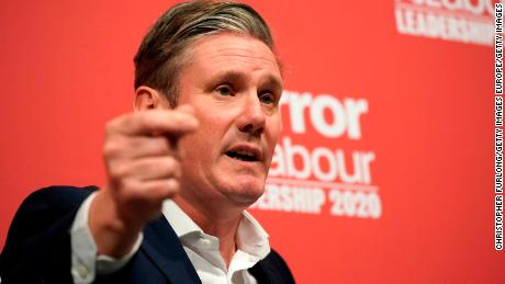 Keir Starmer addresses the audience during the last Labour Party leadership hustings in Dudley on March 8.