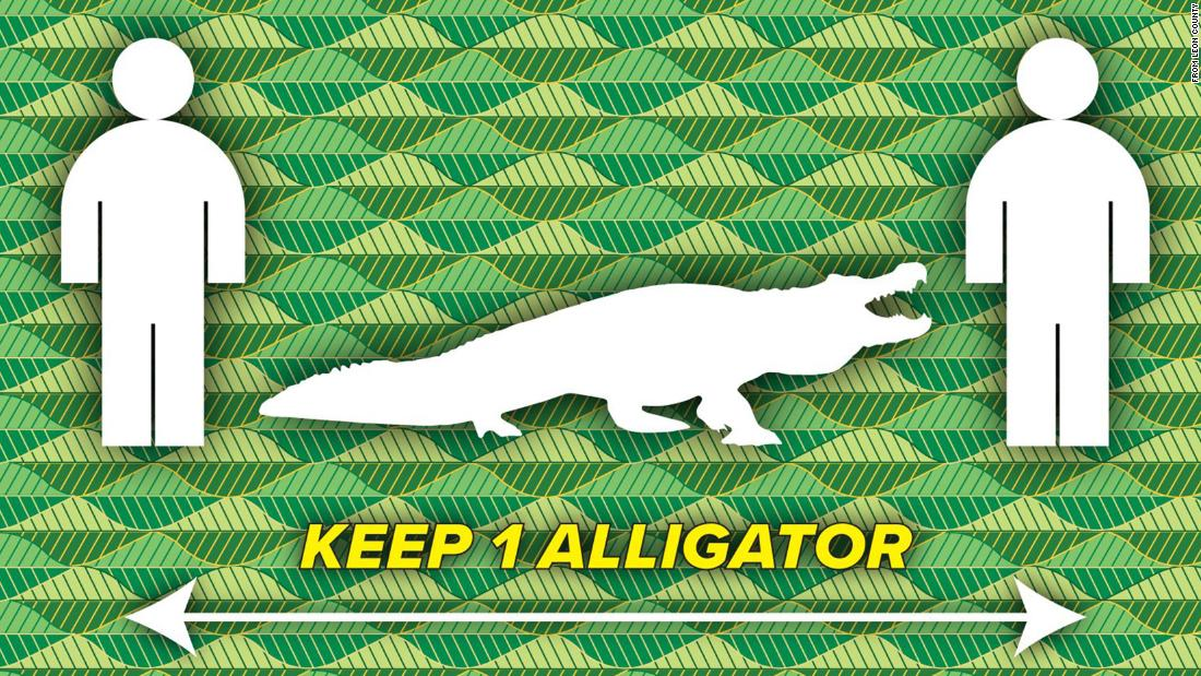 Ένα Φλώριδα county είναι υπενθυμίζοντάς τους ανθρώπους να διατηρήσουν μια απόσταση τουλάχιστον ενός αλιγάτορα μεταξύ τους