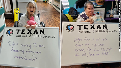 Their nursing home isn't allowing visitors. So these seniors took to social media to let family know they're doing well