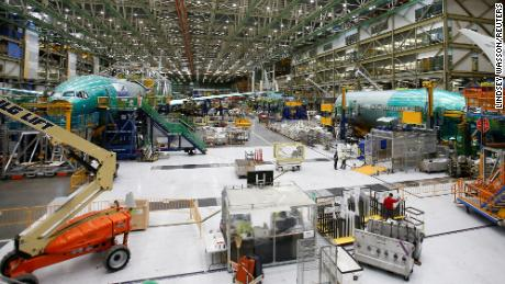 The Boeing production facility in Everett, Washington. The company is cutting about 10% of its workforce, or 16,000 jobs, because of limited demand for commercial aircraft.