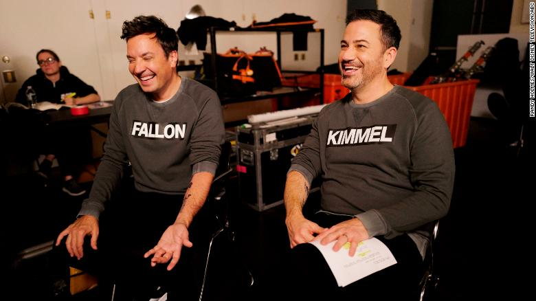 Jimmy Fallon and Jimmy Kimmel, photographed here in October, will co-host a Global Citizen benefit, along with Stephen Colbert.  (ABC/Randy Holmes)