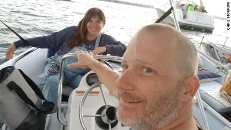 Airbnb hosts Chris (left) and Marty Morrow on their boat in San Diego County in August 2019. They are temporarily living on their boat to make their home available for longer-term stays on Airbnb.