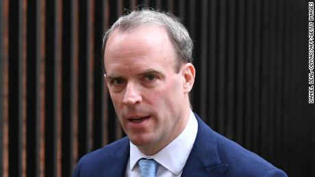 Britain's Foreign Secretary Dominic Raab leaves Downing street in central London on April 6, 2020.