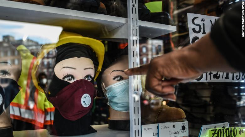 Protective masks for sale are displayed in a store in  Brooklyn on April 2, 2020 in New York City.