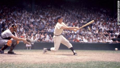 Al Kaline of the Detroit Tigers swings at the pitch during an MLB game against the Baltimore Orioles on June 28, 1959.
