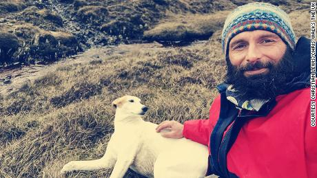Christian Lewis and his dog Jet, stranded on Hildasay island, off the Shetlands.