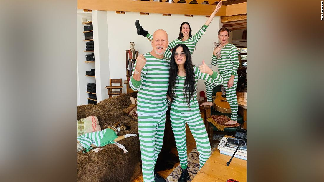 Demi Moore, Bruce Willis and their kids post matching pajama pic from isolation