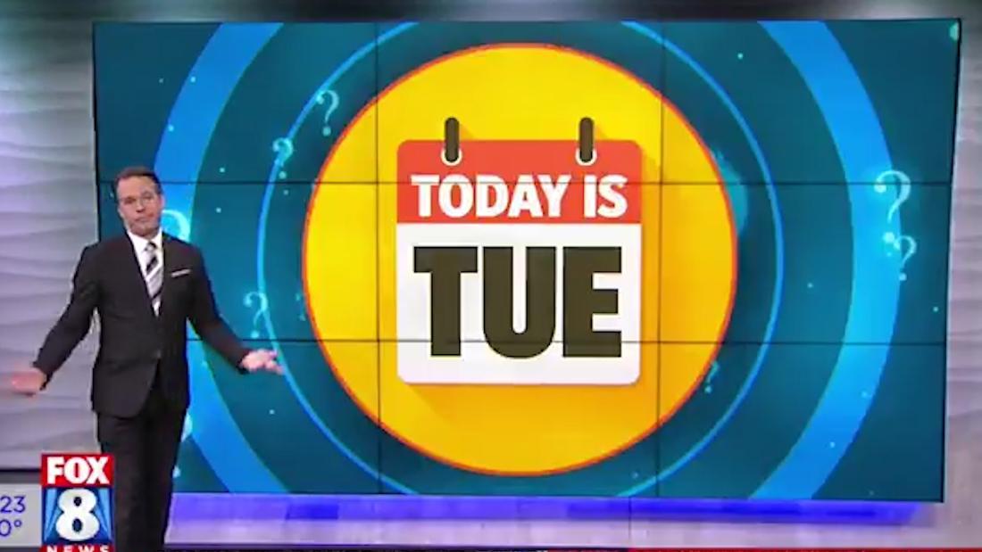 Finden Sie die urkomische Art und Weise dieser Nachrichtensender ist daran zu erinnern, welcher Tag es ist