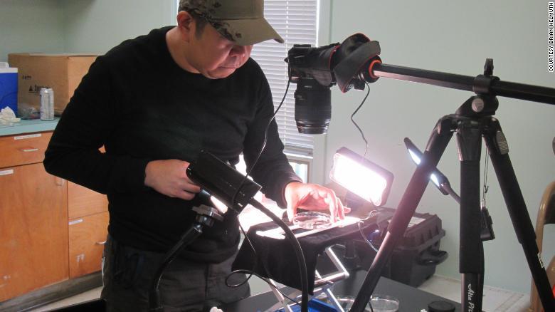 El investigador Marvin Altamia toma fotos de organismos recolectados del bosque sumergido.