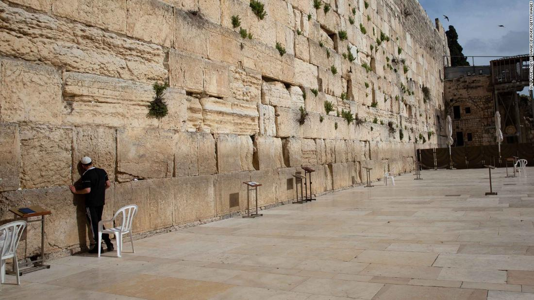 A man prays at the Western Wall in Jerusalem on April 6.