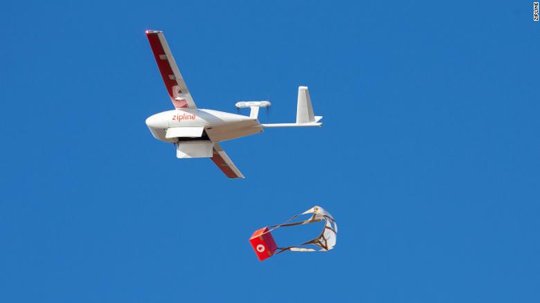 Zipline drones deliver medical supplies.