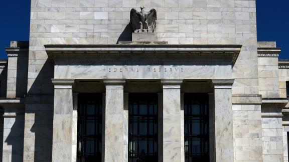 The Federal Reserve building is seen on April 2, 2020 in Washington, DC. (Photo by Olivier Douliery/AFP/Getty Images)