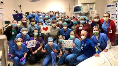 Nurses at Brigham and Women's Hospital in Boston raised money to send meals to Mt. Sinai Queens and Elmhurst Hospitals in New York.