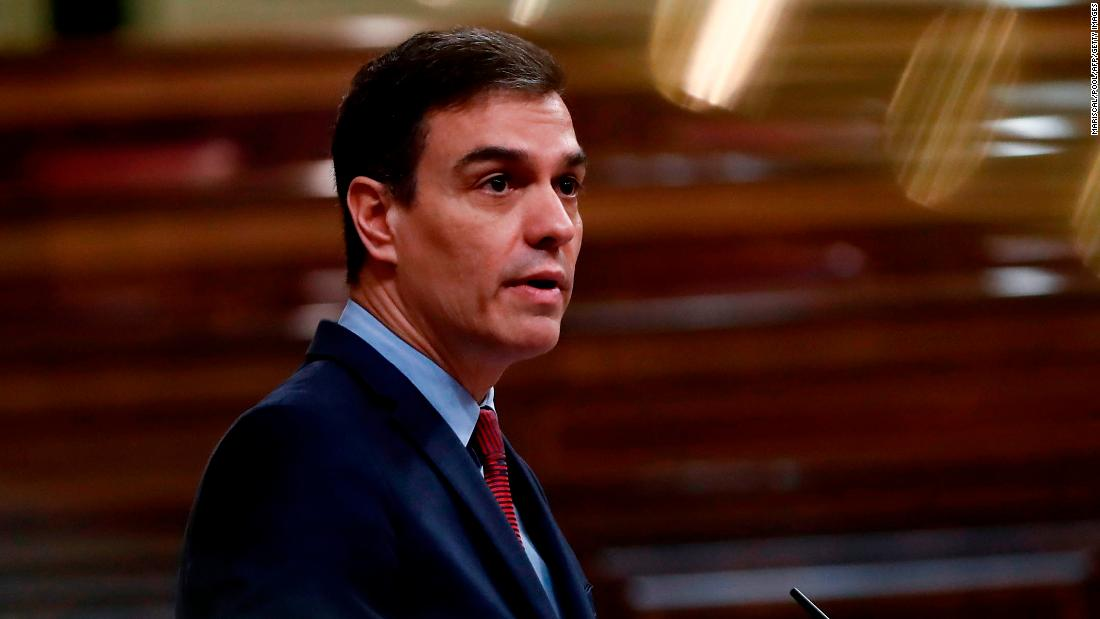 Spanish Prime Minister, Pedro Sanchez delivers a speech during the plenary session at Lower Chamber of Spanish Parliament, in Madrid on 09 April 2020 during a national lockdown to prevent the spread of the COVID-19 disease. (Photo by Mariscal / POOL / AFP) (Photo by MARISCAL/POOL/AFP via Getty Images)