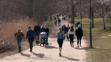 People run and walk in Nacka, in the outskirts of Stockholm, Sweden, Wednesday, April 8, 2020. Swedish authorities have advised the public to practice social distancing because of the coronavirus pandemic, but still allow a large amount of personal freedom, unlike most other European countries. (AP Photo/Andres Kudacki)