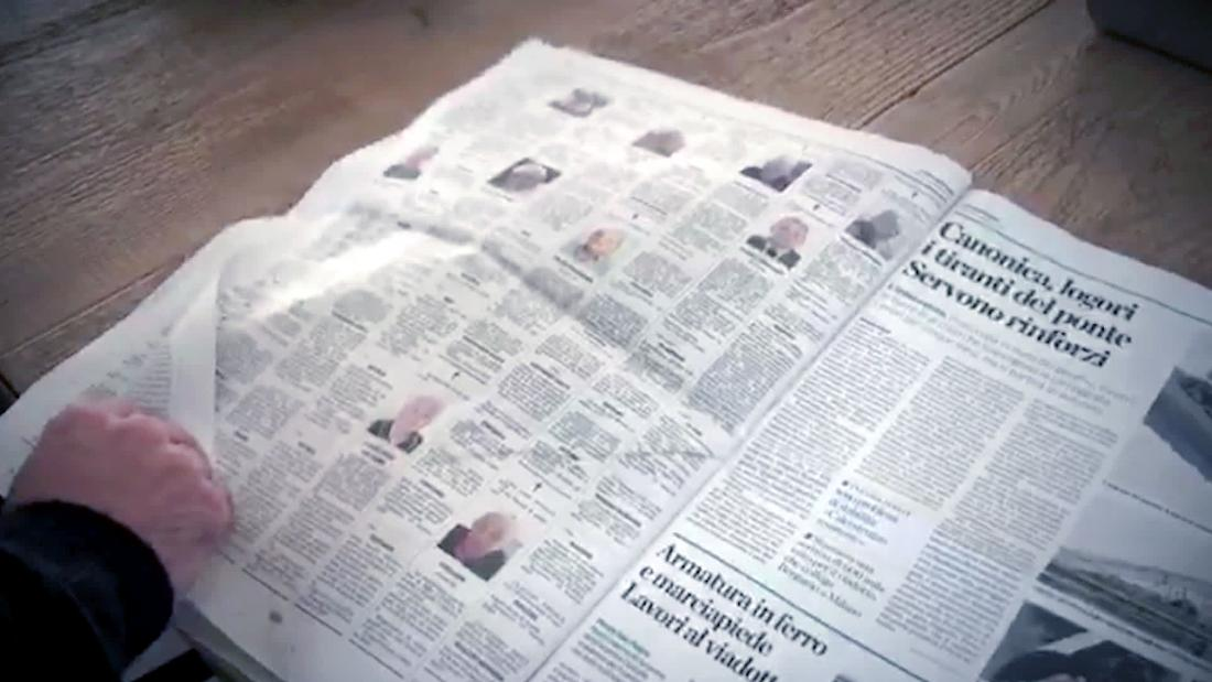 Italian newspaper's obituaries filled 1 page. Now it's 13.