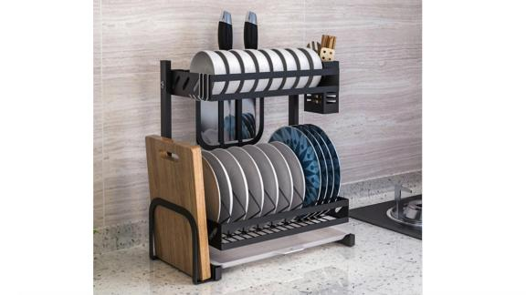 Avery 15.5 in. Black Stainless Steel Standing Dish Rack