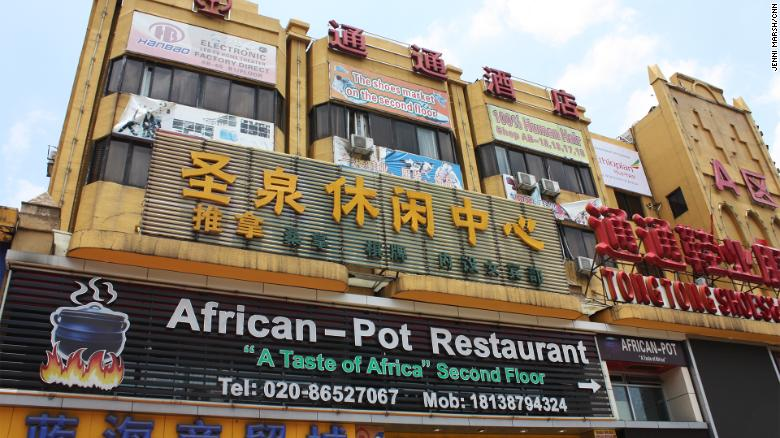 An African restaurant in the San Yuan Li area of Guangzhou, near where five Nigerians tested positive for the virus.