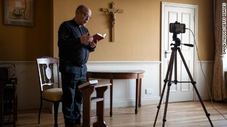 The Very Reverend Andrew Nunn, Dean of Southwark Cathedral delivers the Good Friday morning Prayer via a live video broadcast on April 10, 2020, in London, England.