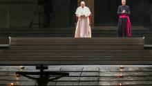 Pope Francis presides over Good Friday's Way of the Cross (Via Crucis) at St. Peter's Square in The Vatican on April 10, 2020.