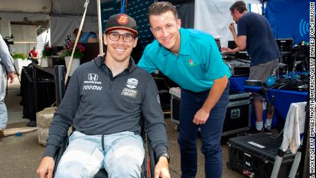 INDIANAPOLIS, IN - MAY 24: (L-R) IndyCar driver Robert Wickens is seen with former driver and SiriusXM Radio host AJ Allmendinger at the SiriusXM Radio stage on Indy 500 Carb Day at the Indianapolis Motor Speedway on May 24, 2019 in Indianapolis, Indiana. (Photo by Michael Hickey/Getty Images for SiriusXM)