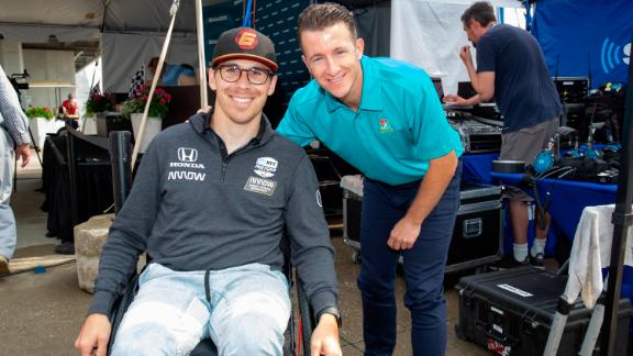 Image for Paraplegic racing driver Robert Wickens makes return to the track. From his basement