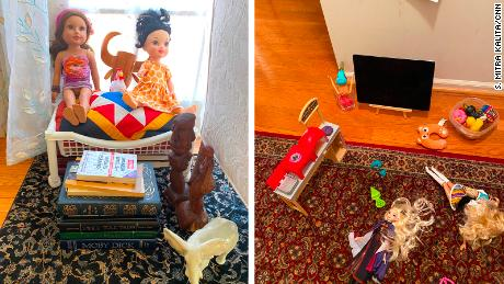 That first weekend, my daughter stacked books like Moby Dick and used decorative figurines to create settings and characters for her dolls. Last week, my husband drove back to Queens and brought some more toys.