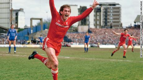 As Liverpool player-manager Kenny Dalglish celebrates after scoring the winning goal that gives Liverpool the Division One Championship for the 1985/86 season after beating Chelsea 1-0 at Stamford Bridge.