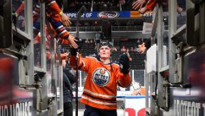 EDMONTON, AB - JANUARY 20: Colby Cave #12 of the Edmonton Oilers walks to the dressing room prior to the game against the Carolina Hurricanes on January 20, 2019 at Rogers Place in Edmonton, Alberta, Canada. (Photo by Andy Devlin/NHLI via Getty Images)
