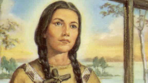 An illustration of Kateri Tekakwitha.