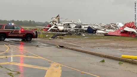 The airport in Monroe, Louisiana, suffered significant damage from the storm.