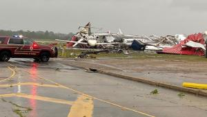 Damage at Monroe (LA) Regional Airport from tornado