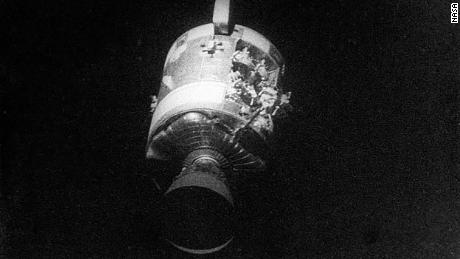 Lovell took a photo of the severe damage to the service module after they jettisoned it.