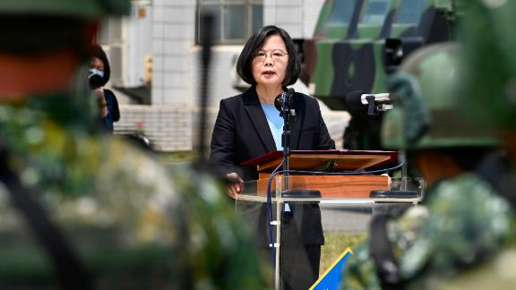 Taiwan President Tsai Ing-wen delivers her address to soldiers amid the Covid-19 coronavirus pandemic during her visit to a military base in Tainan, southern Taiwan, on April 9, 2020.