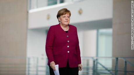 German Chancellor Angela Merkel arrives for a media briefing about measures of the German government to avoid further spread of the coronavirus on April 9, 2020 at the chancellery in Berlin.