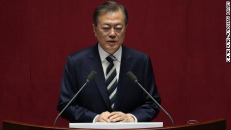South Korean President Moon Jae-in speaks at the National Assembly on October 22, 2019 in Seoul, South Korea.