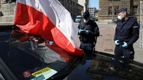 Business owners attend a car protest demanding economic support for entrepreneurs in Krakow, Poland, on April 7.