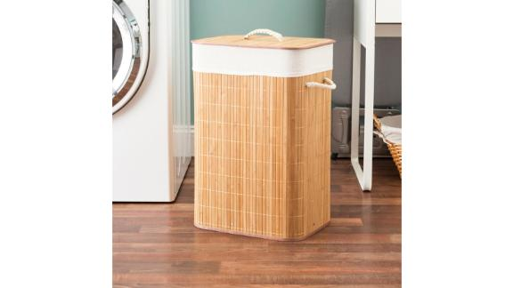 Bay Isle Home Rect Folding Bamboo Laundry Hamper