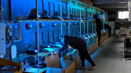 Tangible Creative has 100 3D printers at its warehouse in New Jersey.