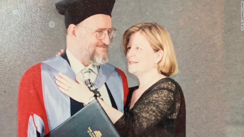 Conway and his wife, Diana, celebrating his honorary degree from the University of Liverpool in 2001.