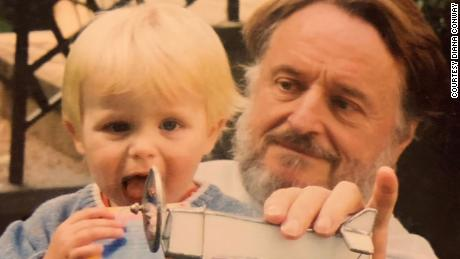 Conway with son Gareth in 2002, during Gareth's birthday party.