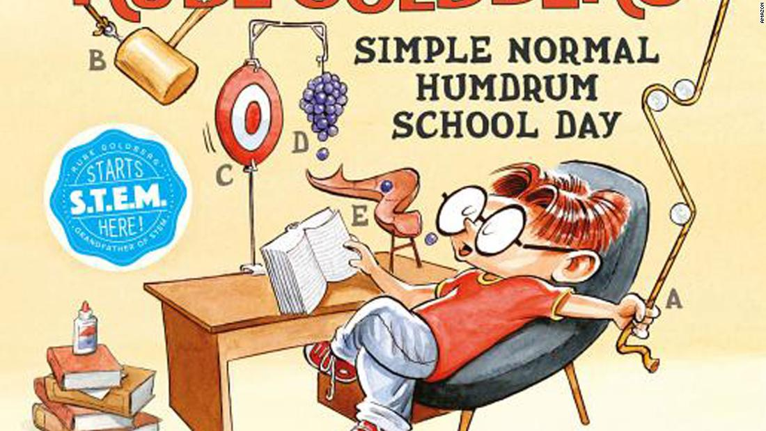 """Rube Goldberg's Simple Normal Humdrum School Day"" by Jennifer George: Rube designs chain reactions to help him with tasks such as brushing his teeth and getting dressed. Diagrams of the machines make clear the order of operations and how each part affects the other."
