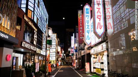 Tokyo's entertainment and red light district is empty on April 7 after the government declared a state of emergency.