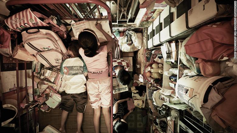 "A handout photograph from the Society for Community Organization shows the inside of one of Hong Kong's ""cage homes."""