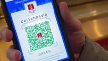 CNN International Correspondent David Culver shows his health QR code in Shanghai. A green code means he's healthy and safe to travel.