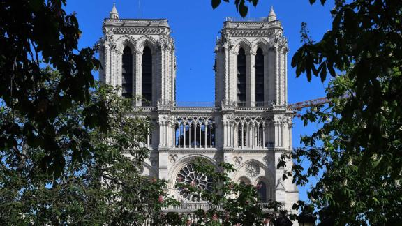 """Notre Dame cathedral is seen on April 14, on the eve of the <a href=""""https://edition.cnn.com/style/article/notre-dame-cathedral-fire-anniversary-rebuild/index.html"""" target=""""_blank"""">one year anniversary </a>of the disastrous fire that ravaged the famous church."""