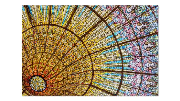 Colorful & Intricate Stained Glass Ceiling of Palace of Catalan Music