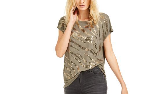 Inc Sequin Zebra T-Shirt
