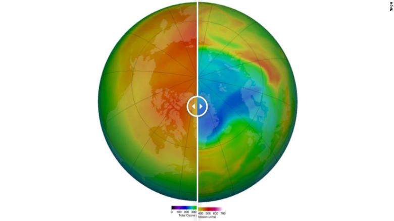 A false-color view shows the total ozone over the Arctic pole between April 2019 and April 6, 2020. Purple and blue mark areas with the least ozone, and the yellow and red mark areas with more ozone. This year, there's signifcantly less ozone.