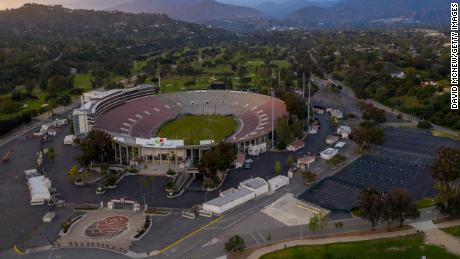 PASADENA, CA - MARCH 29: In this aerial view from a drone, the Rose Bowl Loop and surrounding grounds, popularly used by soccer teams, runners, walkers and cyclists, stands deserted after police closed the area over COVID-19 concerns on March 29, 2020. The Rose Bowl was shuttered in the wake of the closing of all Los Angeles County beaches and other places of exercise or recreation. (Photo by David McNew/Getty Images)